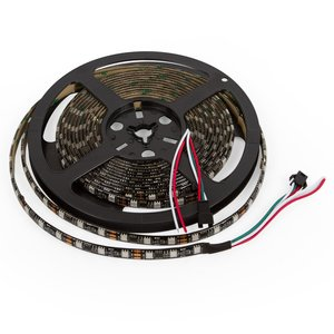 Светодиодная лента RGB SMD5050, WS2811 (черная, c  управлением, IP65, 12 В, 60 диодов/м, 5 м)