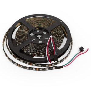 Світлодіодна стрічка RGB SMD5050, WS2811 (чорна, з управлінням, IP65, 12 В, 60 діодів/м, 5 м)